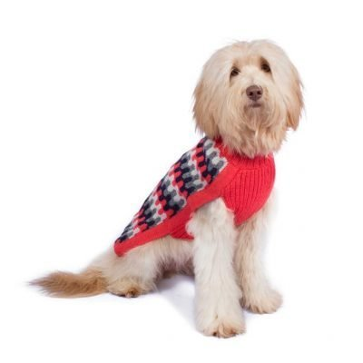 <em><strong>We combine textile heritage and global trends with alpaca—a raw, sustainable, and luxurious fiber—to make our designs unique.</strong></em>  This alpaca blend sweater has a classy and modern look to it. Your dog will look like quite proper in this Alqo Wasi classic. Intarsia knit.  Features ribbed turtleneck, leash opening  - Model Mica is a Goldendoodle size XL  - Model Eva is a Frenchie size XS  This garment has been designed thinking on the well being of your pet.  <strong>Limited Stock!</strong>
