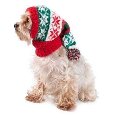 Christmas Snowflakes Red & Green Alpaca Dog Hat