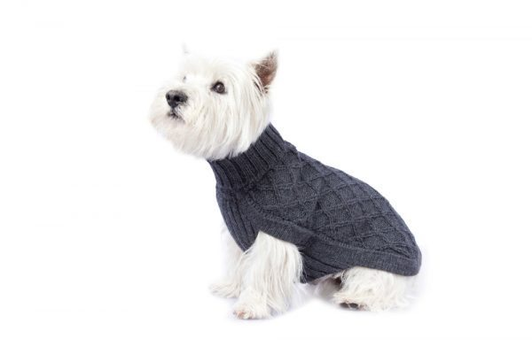 <em><strong>We combine textile heritage and global trends with alpaca—a raw, sustainable, and luxurious fiber—to make our designs unique.</strong></em>  Comfy but no less stylish, this alpaca knit pullover features intricate flower pattern. It  will take your dog through winter and will turn the sidewalk into a runway!  Features ribbed turtleneck, leash opening  - Model Paco is a Westie size M  - Model Luna is a Labradoodle size L  This garment has been designed thinking on the well being of your pet.