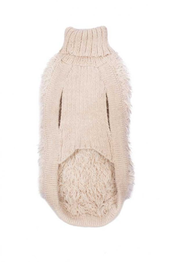 """<em><strong>We combine textile heritage and global trends with alpaca—a raw, sustainable, and luxurious fiber—to make our designs unique.</strong></em> Beige is the color of ultimate versatility and sophistication. A flirty fabulous nude sweater with layered fringing for this cold weather gives your pooch a unique sense of style. Stay warm and enjoy it. Features ribbed turtleneck, leash opening - Model Hannah is a Bichon Frise size S - Model Gloria is a Mini Dachshund size XS This garment has been designed thinking on the well being of your pet. [fusion_button link=""""https://alqowasi.com/wp-content/uploads/2021/03/Sizing-guide-sweater-dresses.png"""" text_transform=""""none"""" title="""""""" target=""""lightbox"""" link_attributes="""""""" alignment_medium="""""""" alignment_small="""""""" alignment="""""""" modal="""""""" hide_on_mobile=""""small-visibility,medium-visibility,large-visibility"""" sticky_display=""""normal,sticky"""" class=""""button-chart"""" id="""""""" color=""""default"""" button_gradient_top_color="""""""" button_gradient_bottom_color="""""""" button_gradient_top_color_hover="""""""" button_gradient_bottom_color_hover="""""""" accent_color="""""""" accent_hover_color="""""""" type="""""""" bevel_color="""""""" border_width="""""""" border_radius="""""""" border_color="""""""" border_hover_color="""""""" size=""""small"""" stretch=""""default"""" margin_top="""""""" margin_right="""""""" margin_bottom="""""""" margin_left="""""""" icon=""""fa-ruler fas"""" icon_position=""""left"""" icon_divider=""""no"""" animation_type="""""""" animation_direction=""""left"""" animation_speed=""""0.3"""" animation_offset=""""""""]Sizing Chart[/fusion_button]"""
