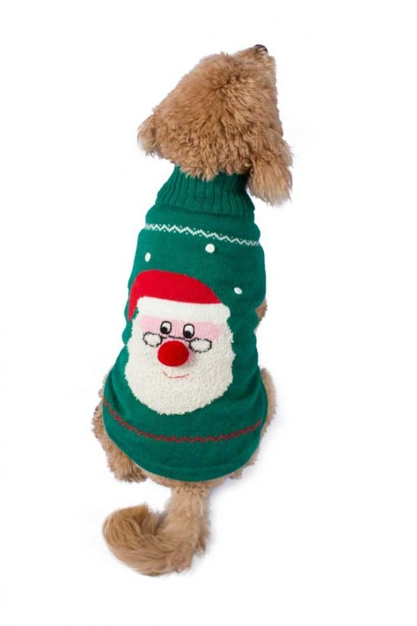 """<em><strong>We combine textile heritage and global trends with Alpaca-a raw, sustainable, and luxurious fiber-to make our designs unique.</strong></em> Ho, Ho, Ho!It is Christmas time! Lightweight and heavenly soft in alpaca blend, our Santa intarsia-knit sweater is perfect for those warm winter nights beside the fire with your favorite pal. This Holiday sweater is full of embellishments. It features three dimensional snowballs, eyeballs and hand embroidered smile. Topped with a little Pom Pom nose and jingle bell finish for an extra adorable look. This garment has been designed thinking on the well being of your pet. [fusion_button link=""""https://alqowasi.com/wp-content/uploads/2021/03/Sizing-guide-sweater-dresses.png"""" text_transform=""""none"""" title="""""""" target=""""lightbox"""" link_attributes="""""""" alignment_medium="""""""" alignment_small="""""""" alignment="""""""" modal="""""""" hide_on_mobile=""""small-visibility,medium-visibility,large-visibility"""" sticky_display=""""normal,sticky"""" class=""""button-chart"""" id="""""""" color=""""default"""" button_gradient_top_color="""""""" button_gradient_bottom_color="""""""" button_gradient_top_color_hover="""""""" button_gradient_bottom_color_hover="""""""" accent_color="""""""" accent_hover_color="""""""" type="""""""" bevel_color="""""""" border_width="""""""" border_radius="""""""" border_color="""""""" border_hover_color="""""""" size=""""small"""" stretch=""""default"""" margin_top="""""""" margin_right="""""""" margin_bottom="""""""" margin_left="""""""" icon=""""fa-ruler fas"""" icon_position=""""left"""" icon_divider=""""no"""" animation_type="""""""" animation_direction=""""left"""" animation_speed=""""0.3"""" animation_offset=""""""""]Sizing Chart[/fusion_button]"""