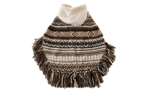 """This unique hooded poncho comes to life with rich and surprising shades of browns and grays, underscored by a white background. The Feather Bliss alpaca dog poncho floats over the body with effortless grace. <ul> <li aria-level=""""1"""">Handcrafted from alpaca fiber blends</li> <li style=""""font-weight: 400;"""" aria-level=""""1""""><span style=""""font-weight: 400;"""">Soft</span><span style=""""font-weight: 400;""""> and warm to the touch</span></li> <li style=""""font-weight: 400;"""" aria-level=""""1""""><span style=""""font-weight: 400;"""">Not itchy & hypoallergenic</span></li> <li>Hooded poncho</li> <li>Convenient belly knitted string</li> </ul> - Model Marcel is a Norfolk Terrier Mix size M This garment has been designed thinking on the well being of your pet. [fusion_button link=""""https://alqowasi.com/wp-content/uploads/2021/03/Sizing-guide-ponchos-3-scaled.jpg"""" text_transform=""""none"""" title="""""""" target=""""lightbox"""" link_attributes="""""""" alignment_medium="""""""" alignment_small="""""""" alignment="""""""" modal="""""""" hide_on_mobile=""""small-visibility,medium-visibility,large-visibility"""" sticky_display=""""normal,sticky"""" class=""""button-chart"""" id="""""""" color=""""default"""" button_gradient_top_color="""""""" button_gradient_bottom_color="""""""" button_gradient_top_color_hover="""""""" button_gradient_bottom_color_hover="""""""" accent_color="""""""" accent_hover_color="""""""" type="""""""" bevel_color="""""""" border_width="""""""" border_radius="""""""" border_color="""""""" border_hover_color="""""""" size=""""small"""" stretch=""""default"""" margin_top="""""""" margin_right="""""""" margin_bottom="""""""" margin_left="""""""" icon=""""fa-ruler fas"""" icon_position=""""left"""" icon_divider=""""no"""" animation_type="""""""" animation_direction=""""left"""" animation_speed=""""0.3"""" animation_offset=""""""""]Sizing Chart[/fusion_button]"""