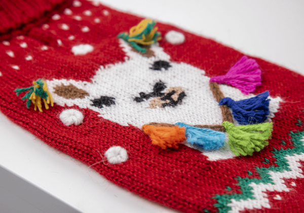 Happy Llama red sweater: Alqo Wasi alpaca sweater for dogs-Holiday Collection