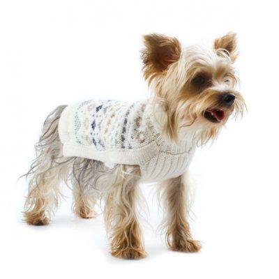 Frosty Fair Isle alpaca dog sweater