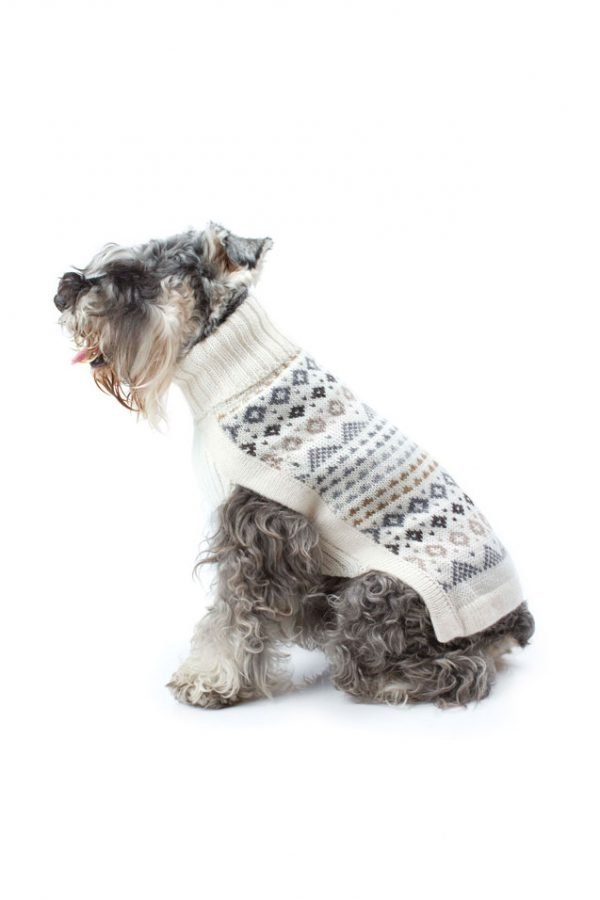 """<span style=""""font-weight: 400;"""">Shake off winter's chill and step into the warmth with Nordic patterns and heavenly soft alpaca blend knits! Your dog will look absolutely adorable with this unique and stylish Frosty Fair Isle alpaca dog sweater.</span> <ul> <li aria-level=""""1"""">Handcrafted from alpaca fiber blends</li> <li style=""""font-weight: 400;"""" aria-level=""""1""""><span style=""""font-weight: 400;"""">Soft</span><span style=""""font-weight: 400;""""> and warm to the touch</span></li> <li style=""""font-weight: 400;"""" aria-level=""""1""""><span style=""""font-weight: 400;"""">Not itchy & hypoallergenic</span></li> <li><span style=""""font-weight: 400;"""">Leash opening</span></li> </ul> - Model Mona is a Yorkie size XS - Model Zeus is a Yorkie Puppy Wearing size XXS This garment has been designed thinking on the well being of your pet [fusion_button link=""""https://alqowasi.com/wp-content/uploads/2021/03/Sizing-guide-sweater-dresses.png"""" text_transform=""""none"""" title="""""""" target=""""lightbox"""" link_attributes="""""""" alignment_medium="""""""" alignment_small="""""""" alignment="""""""" modal="""""""" hide_on_mobile=""""small-visibility,medium-visibility,large-visibility"""" sticky_display=""""normal,sticky"""" class=""""button-chart"""" id="""""""" color=""""default"""" button_gradient_top_color="""""""" button_gradient_bottom_color="""""""" button_gradient_top_color_hover="""""""" button_gradient_bottom_color_hover="""""""" accent_color="""""""" accent_hover_color="""""""" type="""""""" bevel_color="""""""" border_width="""""""" border_radius="""""""" border_color="""""""" border_hover_color="""""""" size=""""small"""" stretch=""""default"""" margin_top="""""""" margin_right="""""""" margin_bottom="""""""" margin_left="""""""" icon=""""fa-ruler fas"""" icon_position=""""left"""" icon_divider=""""no"""" animation_type="""""""" animation_direction=""""left"""" animation_speed=""""0.3"""" animation_offset=""""""""]Sizing Chart[/fusion_button]"""