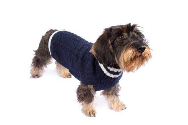 Varsity Cable Blue alpaca dog sweater
