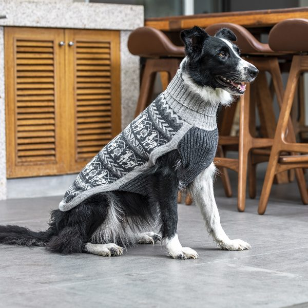 <em><strong>We combine textile heritage and global trends with alpaca—a raw, sustainable, and luxurious fiber—to make our designs unique.</strong></em>  An homage to the homespun Andean market sweaters of yesteryear… Ethnic patterning takes inspiration from the Peruvian Llama. Llamas were domesticated in the Andean Highlands of Perú 4,000-5,000 years ago. The Llama design combines with ethnographic Peruvian symbols in a rhythmic fusion of color and history. Knit of soft, lightweight alpaca.  Features ribbed turtleneck, leash opening  - Model Charlotte is a Shih tzu size XS  - Model Cindy is a Border Collie size XL  - Model Gloria is a Mini Dachshund Size XS  This garment has been designed thinking on the well being of your pet. <h3></h3>