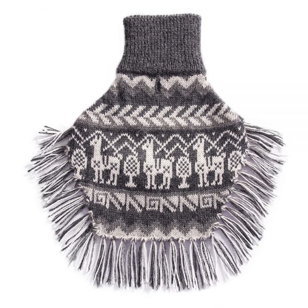 """<span style=""""font-weight: 400;"""">An homage to the homespun Andean market sweaters of yesteryear… The Llama - alpaca dog poncho's design combines with ethnographic Peruvian symbols in a rhythmic fusion of color and history.</span> <ul> <li aria-level=""""1"""">Handcrafted from alpaca fiber blends</li> <li style=""""font-weight: 400;"""" aria-level=""""1""""><span style=""""font-weight: 400;"""">Soft</span><span style=""""font-weight: 400;""""> and warm to the touch</span></li> <li style=""""font-weight: 400;"""" aria-level=""""1""""><span style=""""font-weight: 400;"""">Not itchy & hypoallergenic</span></li> <li><span style=""""font-weight: 400;"""">Leash opening</span></li> <li>Convenient belly knitted string</li> </ul> - Model Mona is a Miniature Poodle size XS - Model Alicia is a mixed Maltese size S This garment has been designed thinking on the well-being of your pet. [fusion_button link=""""https://alqowasi.com/wp-content/uploads/2021/03/Sizing-guide-ponchos-3-scaled.jpg"""" text_transform=""""none"""" title="""""""" target=""""lightbox"""" link_attributes="""""""" alignment_medium="""""""" alignment_small="""""""" alignment="""""""" modal="""""""" hide_on_mobile=""""small-visibility,medium-visibility,large-visibility"""" sticky_display=""""normal,sticky"""" class=""""button-chart"""" id="""""""" color=""""default"""" button_gradient_top_color="""""""" button_gradient_bottom_color="""""""" button_gradient_top_color_hover="""""""" button_gradient_bottom_color_hover="""""""" accent_color="""""""" accent_hover_color="""""""" type="""""""" bevel_color="""""""" border_width="""""""" border_radius="""""""" border_color="""""""" border_hover_color="""""""" size=""""small"""" stretch=""""default"""" margin_top="""""""" margin_right="""""""" margin_bottom="""""""" margin_left="""""""" icon=""""fa-ruler fas"""" icon_position=""""left"""" icon_divider=""""no"""" animation_type="""""""" animation_direction=""""left"""" animation_speed=""""0.3"""" animation_offset=""""""""]Sizing Chart[/fusion_button]"""