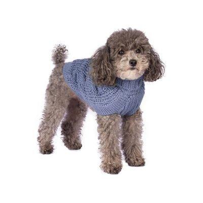 Chunky Cable Light Blue alpaca dog sweater