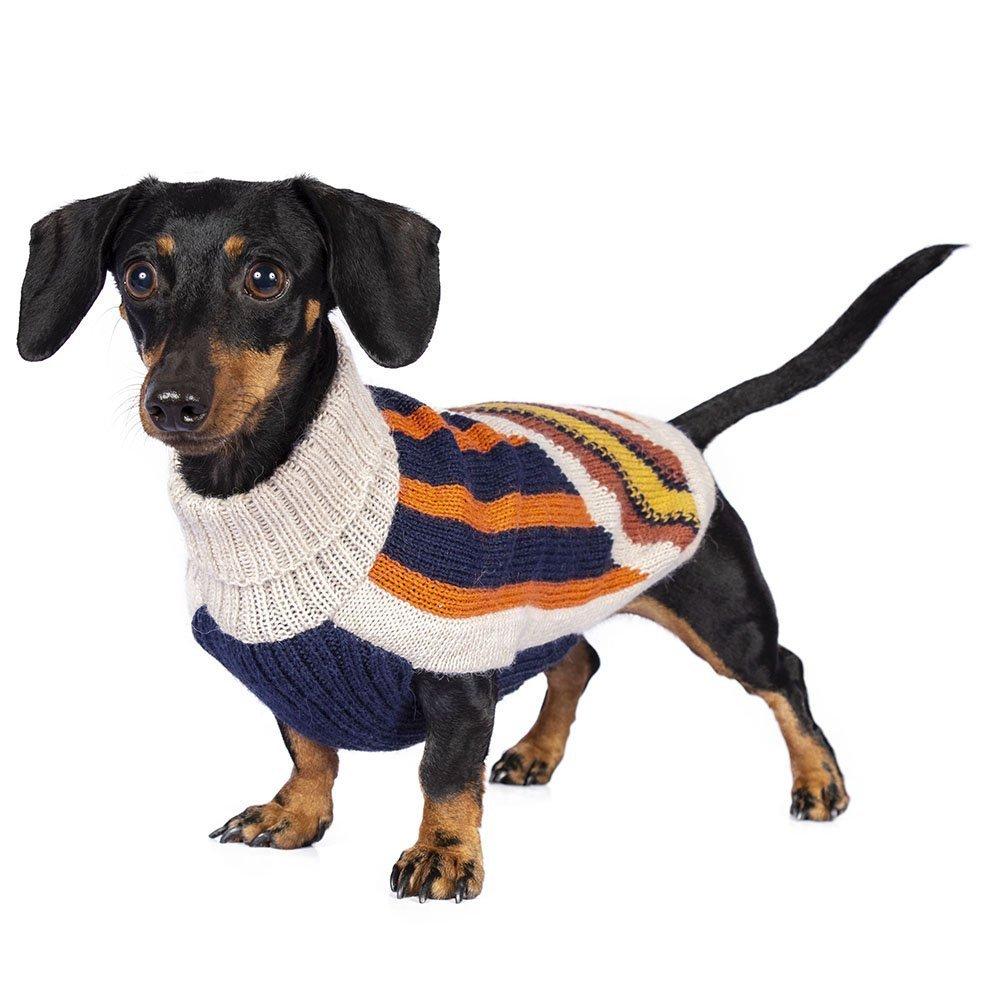 Zipper Alpaca Dog Sweater Intarsia knit