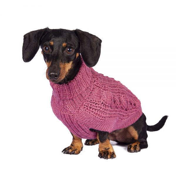 Chunky Cable Pink alpaca dog sweater