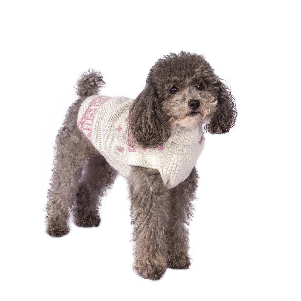 Snowflake Pink alpaca dog sweater