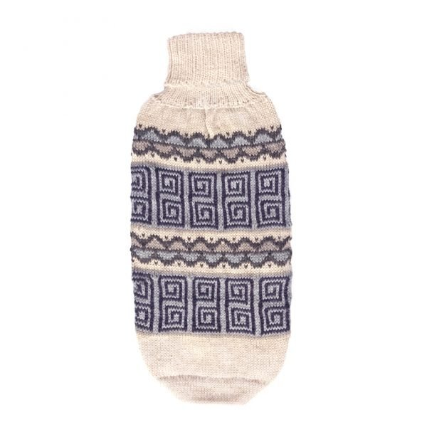 """Head-turning dogwear for the changing seasons, our knit sweater is a work of art in zigzag geometric-inspired from an ancestral textile located in Pisac city. Handloomed of alpaca blend yarn in hues of earth and sky. <ul> <li aria-level=""""1"""">Handcrafted from alpaca fiber blends</li> <li style=""""font-weight: 400;"""" aria-level=""""1""""><span style=""""font-weight: 400;"""">Soft</span><span style=""""font-weight: 400;""""> and warm to the touch</span></li> <li style=""""font-weight: 400;"""" aria-level=""""1""""><span style=""""font-weight: 400;"""">Not itchy & hypoallergenic</span></li> <li><span style=""""font-weight: 400;"""">Leash opening</span></li> </ul> [fusion_button link=""""https://alqowasi.com/wp-content/uploads/2021/03/Sizing-guide-sweater-dresses.png"""" text_transform=""""none"""" title="""""""" target=""""lightbox"""" link_attributes="""""""" alignment_medium="""""""" alignment_small="""""""" alignment="""""""" modal="""""""" hide_on_mobile=""""small-visibility,medium-visibility,large-visibility"""" sticky_display=""""normal,sticky"""" class=""""button-chart"""" id="""""""" color=""""default"""" button_gradient_top_color="""""""" button_gradient_bottom_color="""""""" button_gradient_top_color_hover="""""""" button_gradient_bottom_color_hover="""""""" accent_color="""""""" accent_hover_color="""""""" type="""""""" bevel_color="""""""" border_width="""""""" border_radius="""""""" border_color="""""""" border_hover_color="""""""" size=""""small"""" stretch=""""default"""" margin_top="""""""" margin_right="""""""" margin_bottom="""""""" margin_left="""""""" icon=""""fa-ruler fas"""" icon_position=""""left"""" icon_divider=""""no"""" animation_type="""""""" animation_direction=""""left"""" animation_speed=""""0.3"""" animation_offset=""""""""]Sizing Chart[/fusion_button]"""