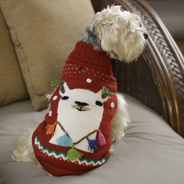 """<span style=""""font-weight: 400;"""">Ho, Ho, Ho! It is Christmas time! Our Happy Llama intarsia-knit sweater is perfect for those warm winter nights beside the fire with your favorite pal. Topped with little Pom Poms in the ears and neck for an extra adorable look.</span> <ul> <li aria-level=""""1"""">Handcrafted from alpaca fiber blends</li> <li style=""""font-weight: 400;"""" aria-level=""""1""""><span style=""""font-weight: 400;"""">Soft</span><span style=""""font-weight: 400;""""> and warm to the touch</span></li> <li style=""""font-weight: 400;"""" aria-level=""""1""""><span style=""""font-weight: 400;"""">Not itchy & hypoallergenic</span></li> <li><span style=""""font-weight: 400;"""">Leash opening</span></li> </ul> This garment has been designed thinking on the well being of your pet. [fusion_button link=""""https://alqowasi.com/wp-content/uploads/2021/03/Sizing-guide-sweater-dresses.png"""" text_transform=""""none"""" title="""""""" target=""""lightbox"""" link_attributes="""""""" alignment_medium="""""""" alignment_small="""""""" alignment="""""""" modal="""""""" hide_on_mobile=""""small-visibility,medium-visibility,large-visibility"""" sticky_display=""""normal,sticky"""" class=""""button-chart"""" id="""""""" color=""""default"""" button_gradient_top_color="""""""" button_gradient_bottom_color="""""""" button_gradient_top_color_hover="""""""" button_gradient_bottom_color_hover="""""""" accent_color="""""""" accent_hover_color="""""""" type="""""""" bevel_color="""""""" border_width="""""""" border_radius="""""""" border_color="""""""" border_hover_color="""""""" size=""""small"""" stretch=""""default"""" margin_top="""""""" margin_right="""""""" margin_bottom="""""""" margin_left="""""""" icon=""""fa-ruler fas"""" icon_position=""""left"""" icon_divider=""""no"""" animation_type="""""""" animation_direction=""""left"""" animation_speed=""""0.3"""" animation_offset=""""""""]Sizing Chart[/fusion_button]"""