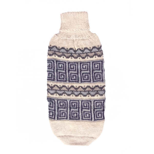 """<em><strong>We combine textile heritage and global trends with alpaca—a raw, sustainable, and luxurious fibre—to make our designs unique.</strong></em> Head-turning dogwear for the changing seasons, our knit sweater is a work of art in zigzag geometric inpired from an ancestral textile located in Pisac city. Handloomed of alpaca blend yarn in hues of earth and sky. [fusion_button link=""""https://alqowasi.com/wp-content/uploads/2021/03/Sizing-guide-sweater-dresses.png"""" text_transform=""""none"""" title="""""""" target=""""lightbox"""" link_attributes="""""""" alignment_medium="""""""" alignment_small="""""""" alignment="""""""" modal="""""""" hide_on_mobile=""""small-visibility,medium-visibility,large-visibility"""" sticky_display=""""normal,sticky"""" class=""""button-chart"""" id="""""""" color=""""default"""" button_gradient_top_color="""""""" button_gradient_bottom_color="""""""" button_gradient_top_color_hover="""""""" button_gradient_bottom_color_hover="""""""" accent_color="""""""" accent_hover_color="""""""" type="""""""" bevel_color="""""""" border_width="""""""" border_radius="""""""" border_color="""""""" border_hover_color="""""""" size=""""small"""" stretch=""""default"""" margin_top="""""""" margin_right="""""""" margin_bottom="""""""" margin_left="""""""" icon=""""fa-ruler fas"""" icon_position=""""left"""" icon_divider=""""no"""" animation_type="""""""" animation_direction=""""left"""" animation_speed=""""0.3"""" animation_offset=""""""""]Sizing Chart[/fusion_button]"""
