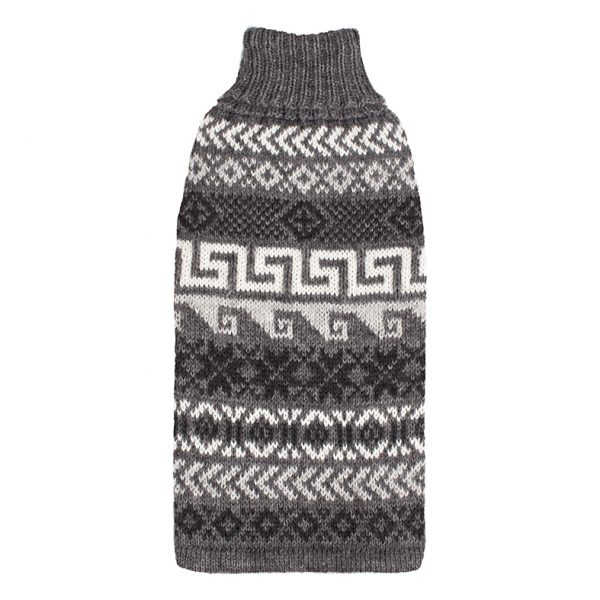 """<span style=""""font-weight: 400;"""">Chic yet comforting Alqo Wasi's Indigenous Grey alpaca dog sweater rarely leaves its sides all winter long – the perfect cozy alpaca sweater your doggy will want to wear day and night.</span> <ul> <li aria-level=""""1"""">Handcrafted from alpaca fiber blends</li> <li style=""""font-weight: 400;"""" aria-level=""""1""""><span style=""""font-weight: 400;"""">Soft</span><span style=""""font-weight: 400;""""> and warm to the touch</span></li> <li style=""""font-weight: 400;"""" aria-level=""""1""""><span style=""""font-weight: 400;"""">Not itchy & hypoallergenic</span></li> <li><span style=""""font-weight: 400;"""">Leash opening</span></li> </ul> <span style=""""font-weight: 400;"""">– Model Gloria is a Miniature Dachshund Size XS</span> This garment has been designed thinking on the well-being of your pet. [fusion_button link=""""https://alqowasi.com/wp-content/uploads/2021/03/Sizing-guide-sweater-dresses.png"""" text_transform=""""none"""" title="""""""" target=""""lightbox"""" link_attributes="""""""" alignment_medium="""""""" alignment_small="""""""" alignment="""""""" modal="""""""" hide_on_mobile=""""small-visibility,medium-visibility,large-visibility"""" sticky_display=""""normal,sticky"""" class=""""button-chart"""" id="""""""" color=""""default"""" button_gradient_top_color="""""""" button_gradient_bottom_color="""""""" button_gradient_top_color_hover="""""""" button_gradient_bottom_color_hover="""""""" accent_color="""""""" accent_hover_color="""""""" type="""""""" bevel_color="""""""" border_width="""""""" border_radius="""""""" border_color="""""""" border_hover_color="""""""" size=""""small"""" stretch=""""default"""" margin_top="""""""" margin_right="""""""" margin_bottom="""""""" margin_left="""""""" icon=""""fa-ruler fas"""" icon_position=""""left"""" icon_divider=""""no"""" animation_type="""""""" animation_direction=""""left"""" animation_speed=""""0.3"""" animation_offset=""""""""]Sizing Chart[/fusion_button]"""