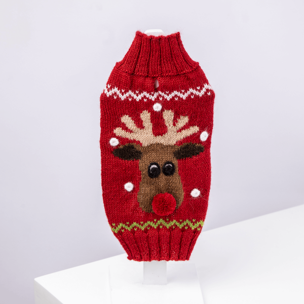 Red Rudolph sweater: Alqo Wasi alpaca sweater for dogs-Holiday Collection