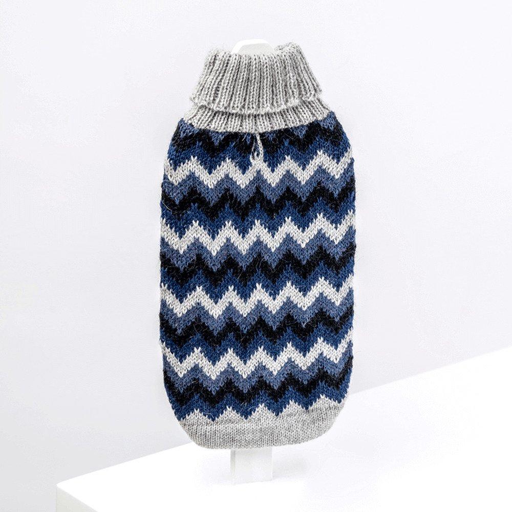 Chevron Blue-Collection 2020: Alqo Wasi alpaca sweater for dogs