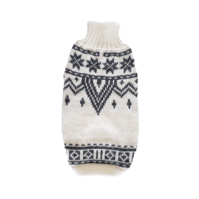 Grey and white snowflakes: Alqo Wasi alpaca sweater for dogs