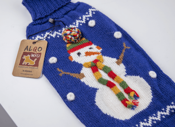 Snowman blue sweater: Alqo Wasi alpaca sweater for dogs-Holiday Collection