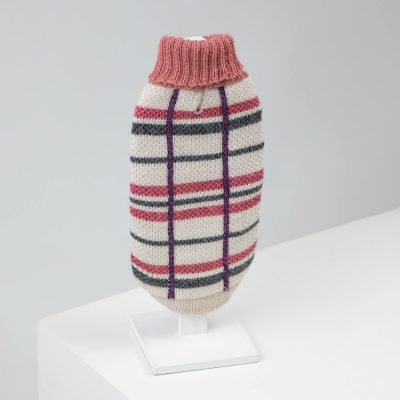 Plaid Pink Alpaca Dog Sweater