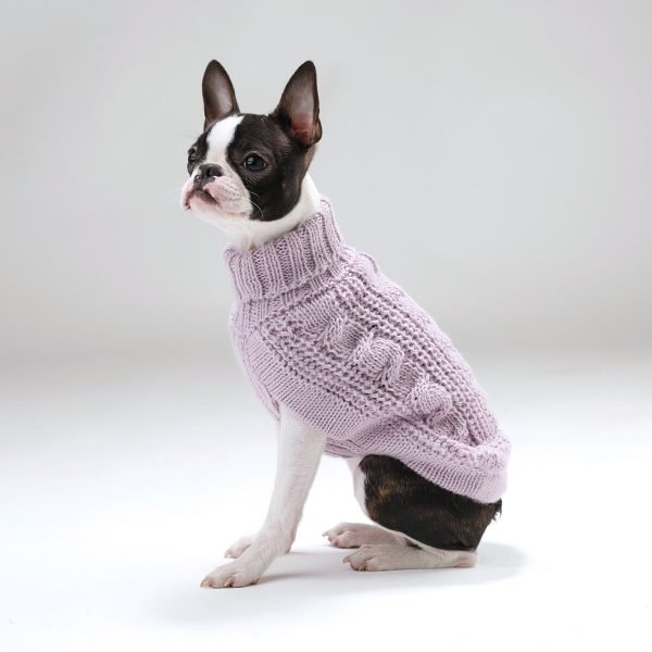 Chunky Cable Knit Lavanda Alpaca Dog Sweater